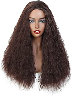 Long Fluffy Wavy Brown Color Wigs Heat Resistant Synthetic Hair Wigs for Women Natural Looking as Real Hair Replacement Wigs(Brown)
