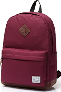 Women Backpacks,Vaschy Unisex Classic Lightweight Water-resistant Campus School Rucksack Travel Backpack Wine-red Fits 15.6Inch Laptop