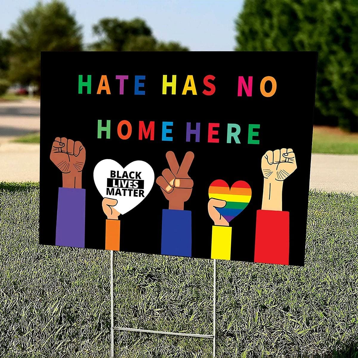 Hate Max 80% OFF Has No Home Here Double Brand new Sided Yard LGBT Sign Asia BLM Stop