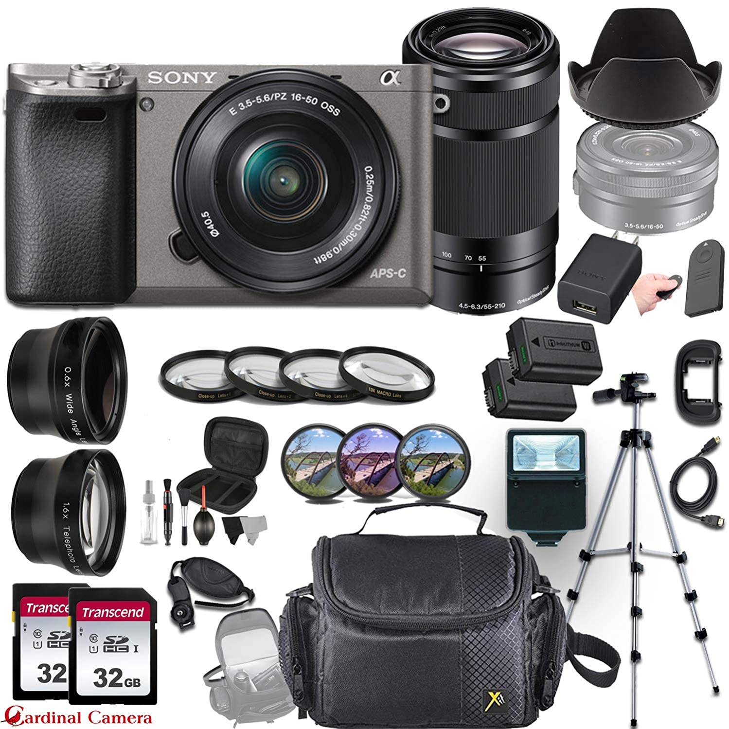 Sony Alpha a6000 (Graphite) Mirrorless E-Mount Camera and 2 Sony Lens Bundle (E 16–50mm f/3.5–5.6 OSS and E 55–210mm f/4.5-6.3 OSS) + Professional Accessory-Kit