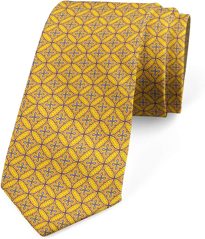 Ambesonne Men's Tie, Vibrant Geometric Motif, Necktie, 3.7