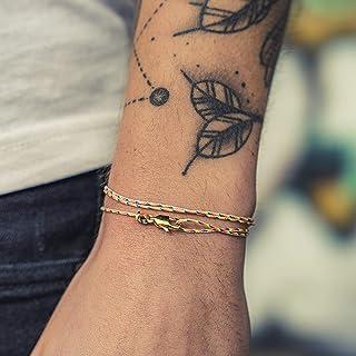 Dezentes Armband für Herren und Damen - edles Wickelarmband für Männer - Minimalistischer Schmuck - 100% wasserfest & stufenlos verstellbar - Karabiner-Haken Armband - Gold Retro