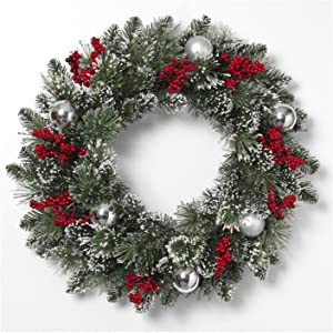 One Holiday Way 24-Inch Snowy Pine Wreath with Silver Ornaments and Red Berries – Christmas Front Door Wreath