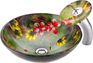 ANZZI Impasto Tempered Glass Vessel Sink and Faucet Combo in Floral Mural Finish | Round Bowl Sink with Matching Waterfall Faucet Set | Bathroom Sinks Above Counter and Vessel Faucet Combo | LS-AZ217