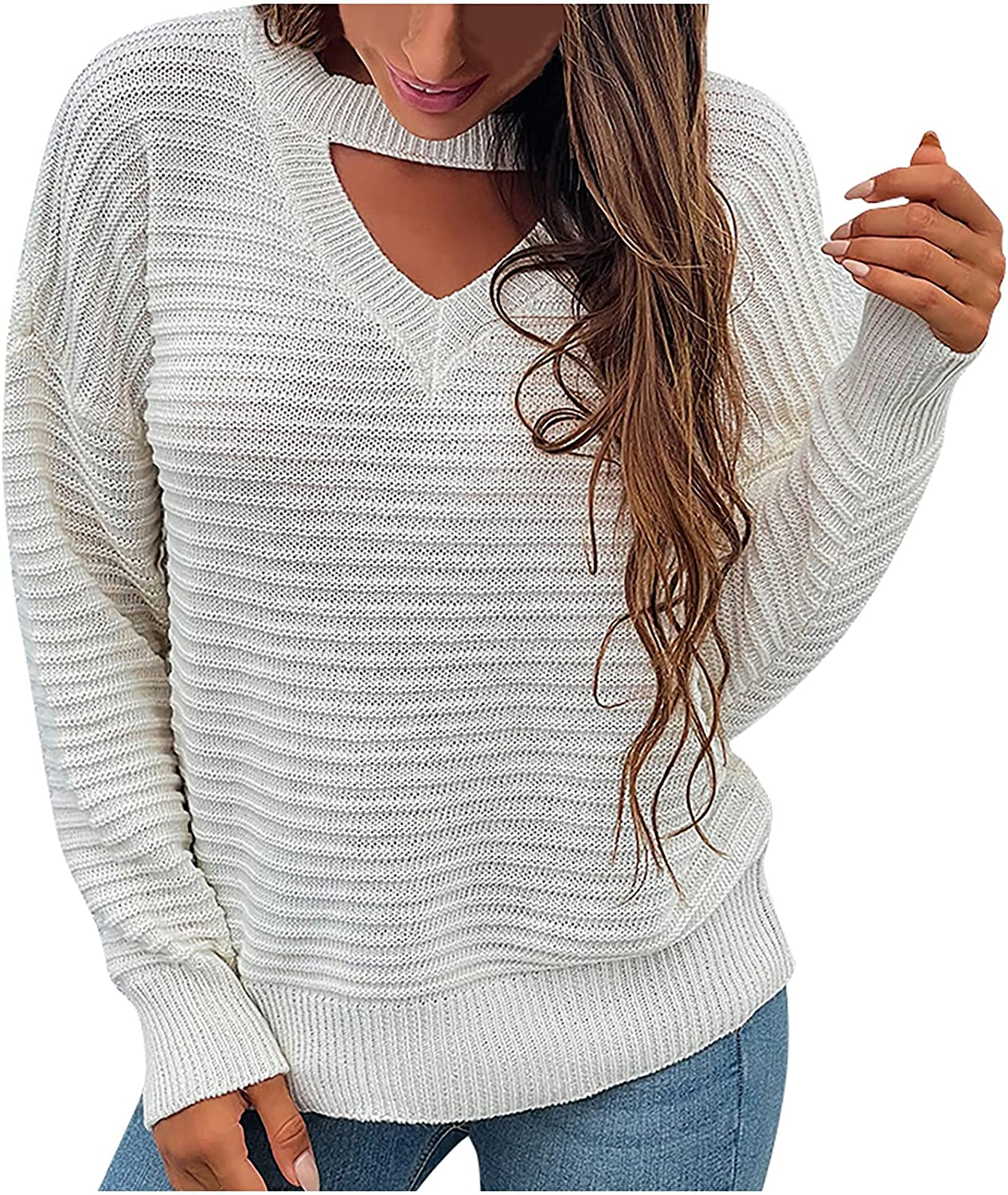 Women's Cable Knitted Choker Sweater Long Sleeve Knitted Tops Solid Color Crew Neck Loose Pullovers Jumper Blouses