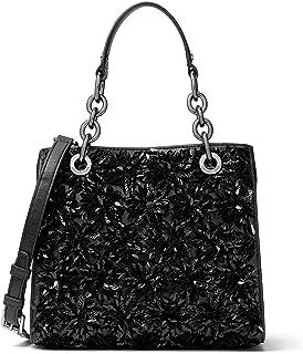 MICHAEL Michael Kors Womens Flora Burst Leather Satchel Handbag Black Small