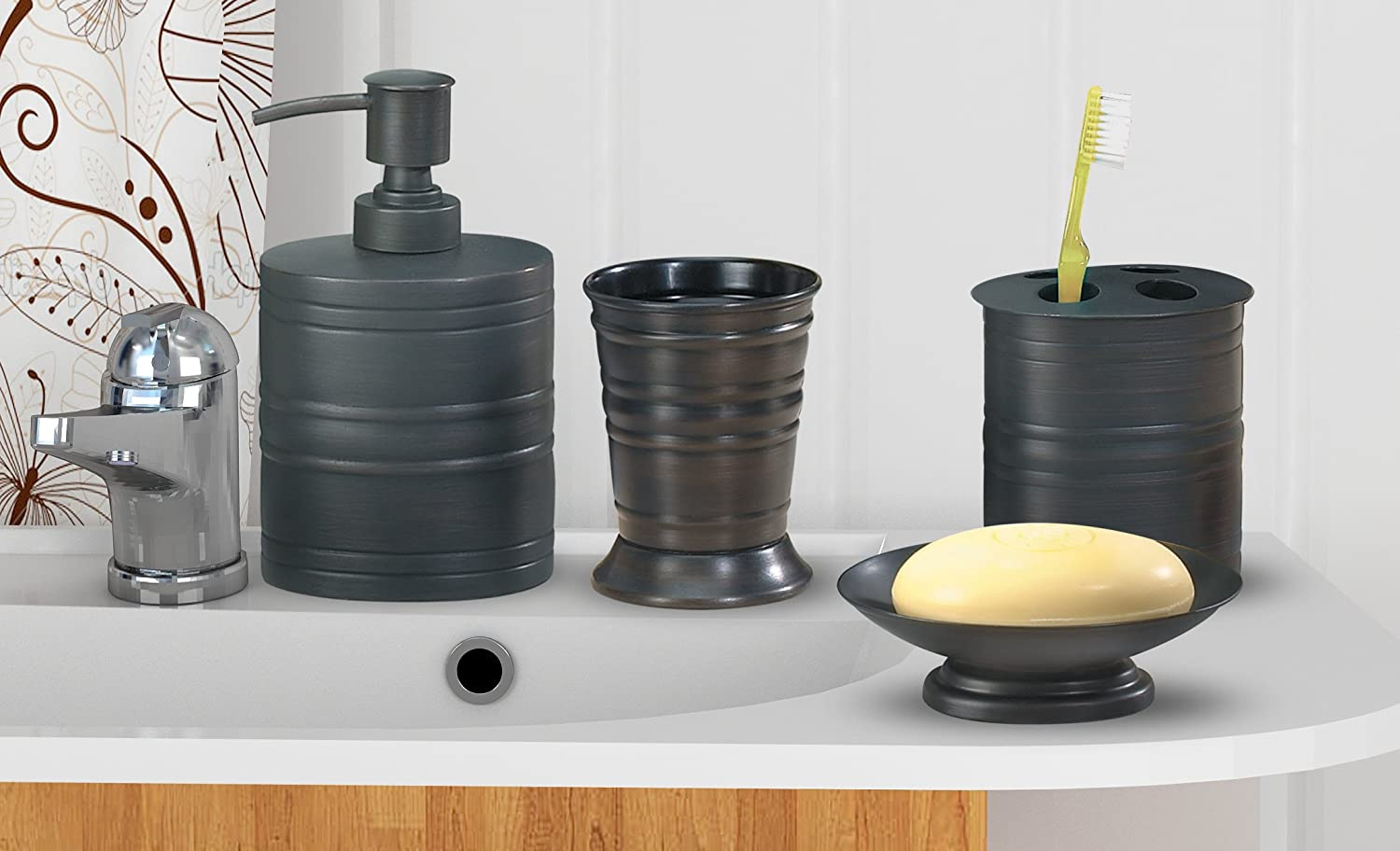 Nu steel NuSteel Includes Dish, Toothbrush Holder, Tumbler, soap Pump Bogart 4pc Set Bath Collection-Oil Rubbed Bronze