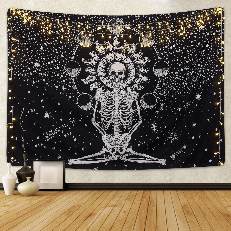 Skull Tapestry Meditation Star Skeleton Oakland Free shipping / New Mall Chakra