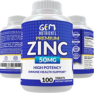Gem Nutrients Zinc 50mg, High Potency Immune Booster Zinc Supplement, Immune Defense, Powerful Natural Anti...