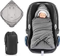 Zamboo Manta Envolvente bebé invierno para Sillas Grupo 0+ / Arrullo acolchado con forro polar térmico, capucha y bolsa - gris jaspeado (Basic)