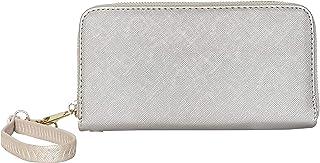 Aspenleather Women's Pu Leather, Zip-Around Wallet (Silver)