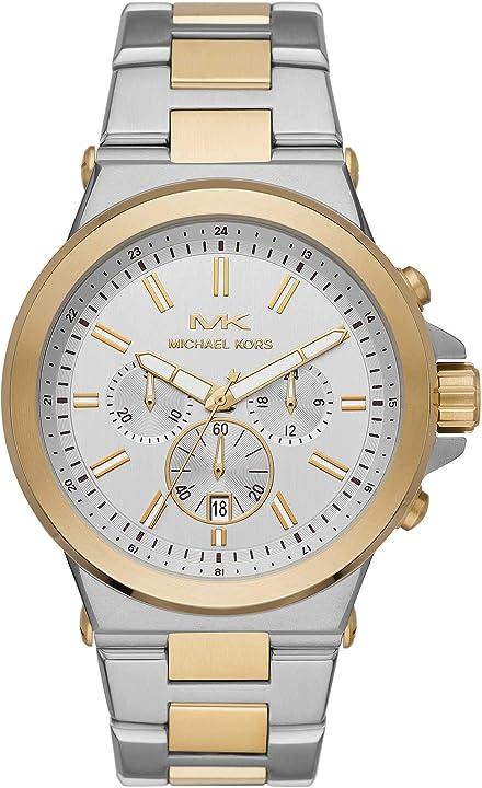 Orologio michael kors cronografi con cinturino in acciaio inossidabile color argento e oro per uomo mk8831