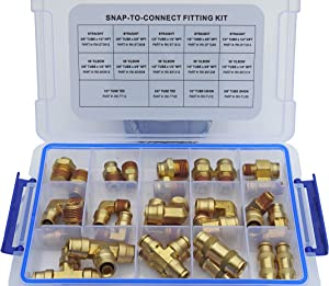 Road King Truck Parts Brass Push to Connect Air Brake Line Fitting Connector Kit, DOT Approved