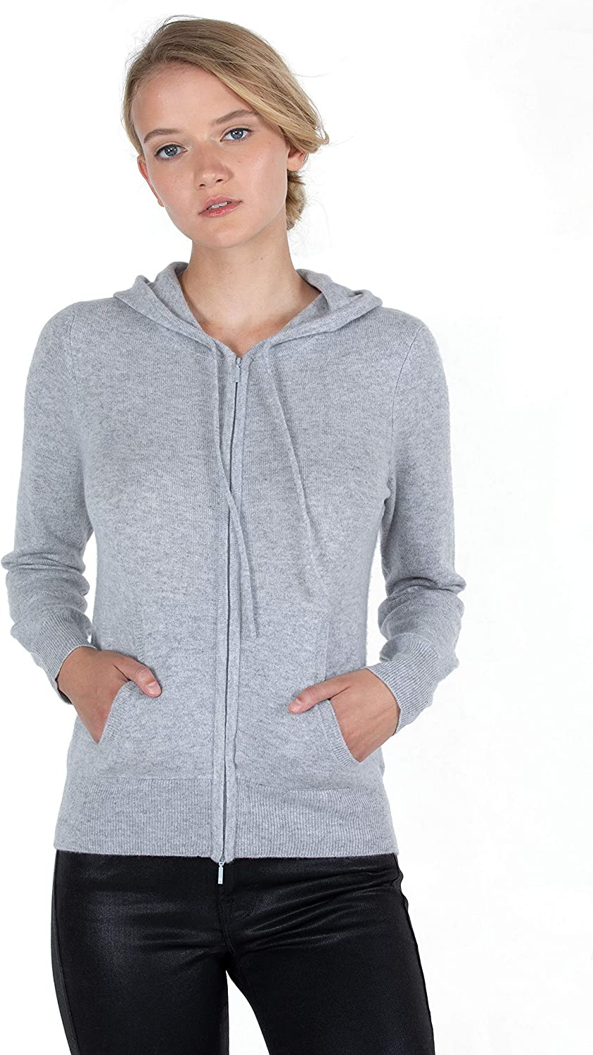 JENNIE LIU Women's 100% Pure Cashmere Hoodie Long Zip Sleeve Car SEAL Columbus Mall limited product