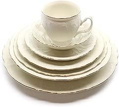 Royalty Porcelain Vintage Antique 28-pc Dinnerware Set 'Bernadotte Ivory Gold', Bone China Porcelain