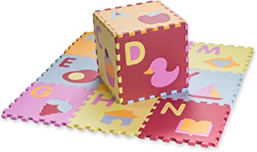 HemingWeigh Kid's Multicolored Alphabet + Shapes Puzzle Play Mat - Soft and Safe EVA Foam - Excellent for Day Care's, Play Rooms, Baby Rooms, and playgrounds