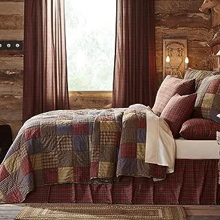 VHC Brands Rustic & Lodge Bedding Ridgeline Cotton Pre-Washed Patchwork Sham Twin Quilt Set, Navy Blue