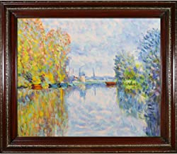 """La Pastiche Autumn on the Seine at Argenteuil by Claude Monet Oil Painting, 20"""" x 24"""", Heritage Wood Frame"""