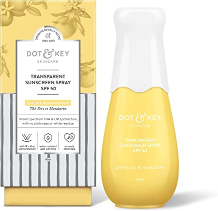 Dot & Key Transparent Sunscreen Spray SPF 50, PA+++, invisible non sticky sunscreen for all skin types, for broad spectrum UV-A & UV-B Sun Protection - Paraben Free