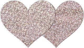 Rose Sparkle Heart Waterproof Self Adhesive Nipple Cover Pasties