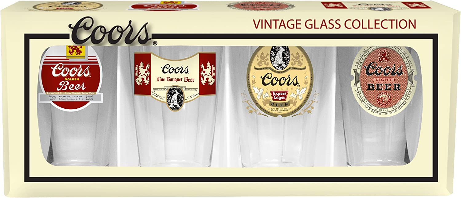 Boelter Brands Coors Retro Variety Pint Set, 16-ounce, 4-Pack
