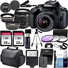 $339 » Canon Rebel T100 w/Canon EF-S 18-55mm F/3.5-5.6 III Zoom Lens & Professional Accessory Bundle W/ 2X 32GB Memory Cards + Case & Wide Angle & Telephoto Lens + More!