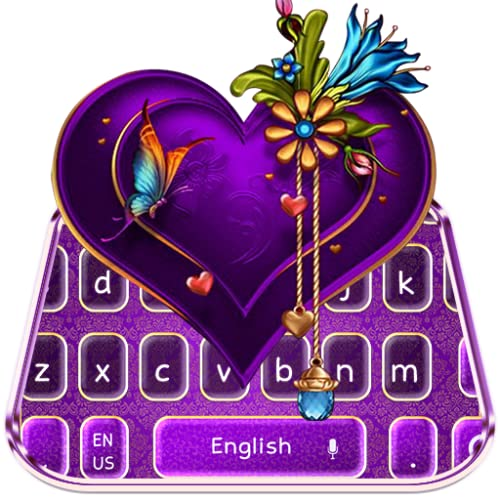 Classic Purple Love Heart Keyboard Theme