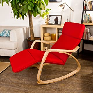 SoBuy Haotian Comfortable Relax Rocking Chair with Foot Rest Design, Lounge Chair, Recliners Poly-Cotton Fabric Cushion,FS...
