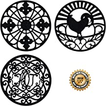 Silicone Trivet Set For Hot Dishes, Pots & Pans. These Modern Kitchen Hot Pads come in 3 Different Country Decor Designs that Mimics Vintage Cast Iron Trivets. 7.5 inch Round, Set of 3, Black