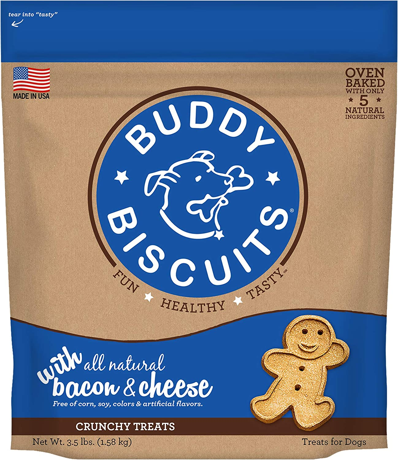 Buddy Biscuits Original Oven Baked Treats with Bacon & Cheese  3.5 Lb, 1 Piece