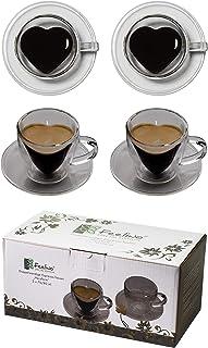 Feelino Coeur à double paroi en verre et cœur avec tasses à café double paroi, Verre, 2x 70ml Tassen