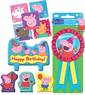 Peppa Pig Birthday Cake Candle Set & Birthday Party Confetti Filled Ribbon for Guest of Honor! Plus Party Favor Stickers!