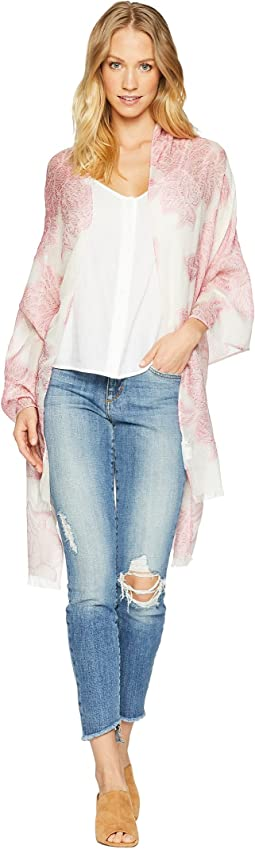 Silky Burnout Floral Draped Evening Wrap