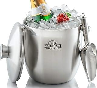 Seau à Glace Isolé d'Amerigo - Seau à Champagne à Double Paroi - Seau à Glace en Acier Inoxydable pour les Vacances avec C...