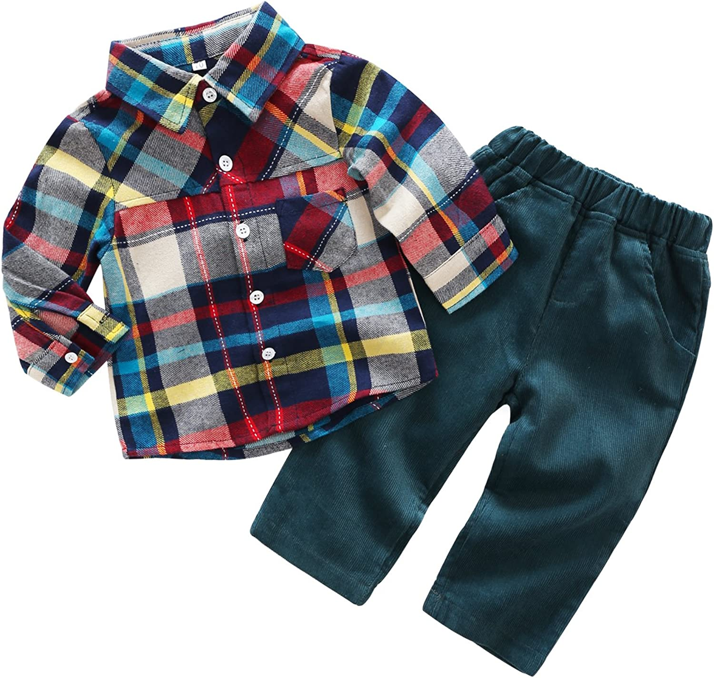 Newborn Baby Casual Suit 2pcs Cotton Long Sleeve Plaid Button-Down Shirt Pant Outfits Boys Clothes Set