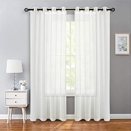 Amazon Com Linenzone Grommet Semi Sheer Curtains 2 Pieces Total Size 108 Inch Wide 54 Inch Each Panel 84 Inch Long Panels Beautiful Elegant Natural Light Flow Material