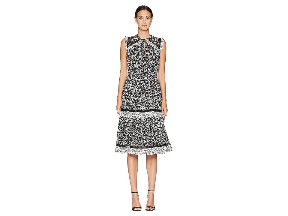 Kate Spade New York Broome Street Plains Ditsy Rayon Dress (Black/French Cream) Women