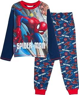 Cuffed Loungepants MARVEL Boys Spiderman Pyjamas Kids Avengers Full Length Pjs Set T-Shirt