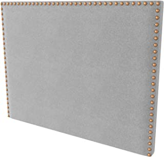 LA WEB DEL COLCHON - Cabecero tapizado Tachuelas para Cama de 160 (170 x 120 cms) Gris Claro Textil Suave | Cama Juvenil | Cama Matrimonio | Cabezal Cama |