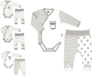 Makoma Baby Erstausstattung Neugeborenen Set 2tlg. Baby Body & Strampelhose mit Fuß Unisex