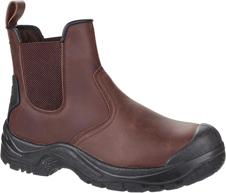Mens Waterproof Safety Boots   Brown Leather Dealer Steel Toe Cap Slip On Industrial Amblers