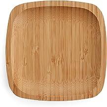 مجموعة أطباق من الخيزران مقاس 15.24 سم من بيلاري - أطباق مربعة من الخيزران - أطباق خشبية - أطباق عشاء من الخيزران - مجموعة...