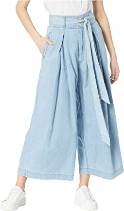 Cotton Silk Chambray Crop Pants