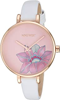 Nine West NW/2122RGWT Reloj de pulsera para mujer, tono oro rosa y correa blanca