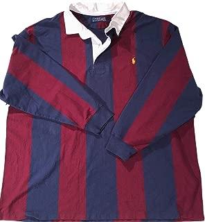 Men's Big & Tall Navy/Merlot Iconic Rugby L/S Shirt LT