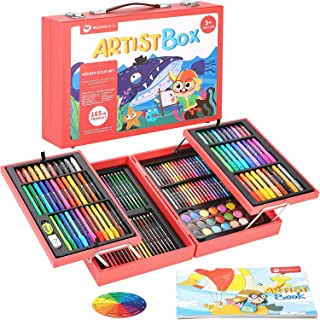 MEEDEN KIDS 165 Piece Deluxe Wooden Art Set, Drawing Painting Art Kit with Silky Crayons, Oil Pastels, Water-Based Color P...