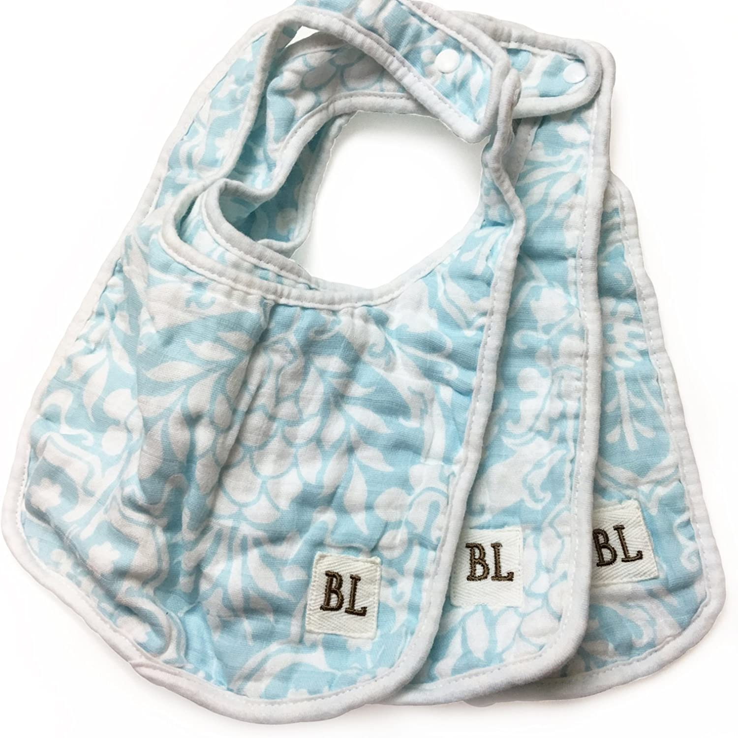 Bambino Land Omaha Mall Bibs 3 Floral Blue Pack Max 48% OFF -