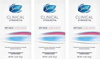 Secret Antiperspirant and Deodorant for Women, Clinical Strength Soft Solid, Powder Protection, 1.6 Oz Pack of 3