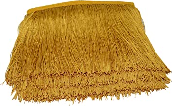 Mangocore 10Yard/Lot 15CM Long Lace Trim Color Polyester Tassel Fringe Trimming For Diy Latin Dress Stage Clothes Accessories (Gold)