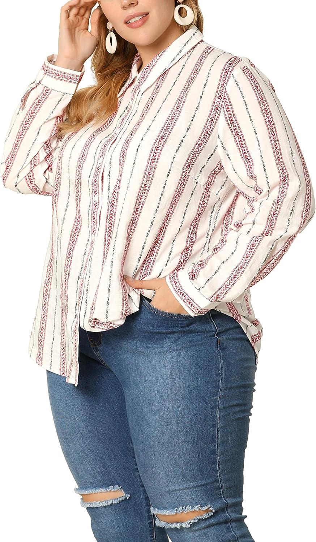 Agnes Orinda Plus Size Shirts for Women Contrast Color Stripe Prints Button Up Work Shirt